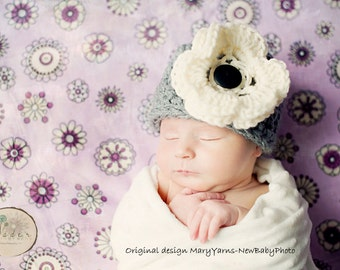 HAT with Flower in Gray Cream - Photography Newborns - Handmade by MaryYarns
