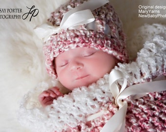 Cocoon and Beanie Hat Newborn Photoprop in Swirly Pink Cocoon and Hat Photography Session all Babies Infant Girl The Perfect GIFT Newborns