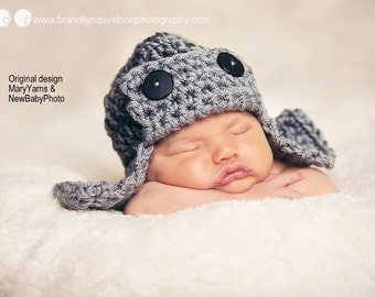 AVIATOR Bomber Flyer Hat Newborn Photo prop GRAY, available 35 colors, Photography Hat Baby Photo Shoot, GIFT New Babies BabyShower Baby Hat