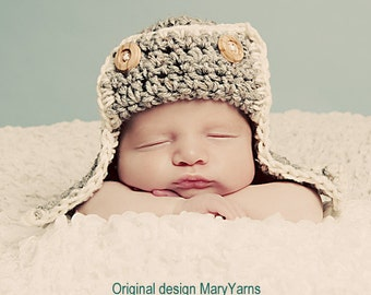 The Aviator Kids Newborn Hat Photo prop in Soft gray/creamy - Photography Baby Session Infant girl Boy photo shoot