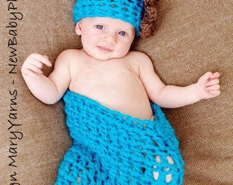 Coccon Hat Newborn wrap Photo prop in AQUA BLUE - Photography SET 2pcs Baby Prop Infant girl boy all Babies photo shoot photo shoot newborns