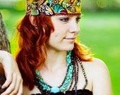 Terra. Bohemian Head Wrap Headband Rust Brown Mustard Gold Tuquroise Teal Olive Green