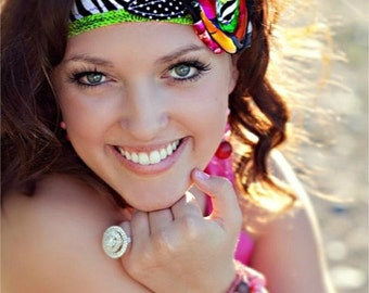 Wild Child HeadWrap Headband in Zebra and Multi Color Tie on Headband Zebra Print Headwrap Polka Dot Tie Headwrap Gifts for Her