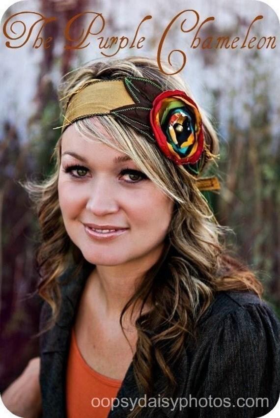 Avery. Gold and Multi Color Head Wrap.Headband  Gold Olive Red Brown  Rasta Headwrap Tichel Accessory Half Wrap