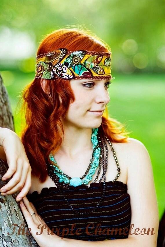 Terra. Bohemian Head Wrap Headband Rust Brown Mustard Gold Tuquroise Teal Olive Green Boho Headwrap Fall Colors Tichel Accessory