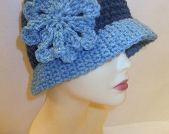 Women, Beanie, Cloche, Crochet, Dark Blue, Light Blue, Two Toned, Hat, Flower, Brooch, Pin, Beach, Fashionable, Accessories, Gifts