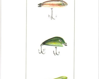 antique fishing lure blank note cards