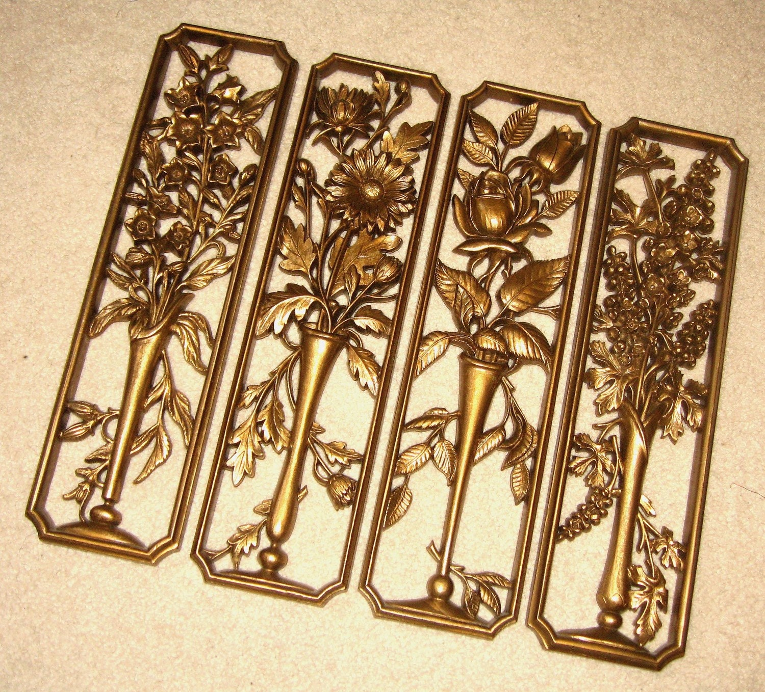 Golden Floral Wall Plaques Four Seasons Wall Decor By