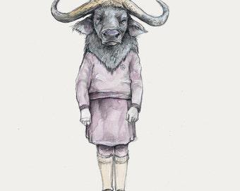 Little Water Buffalo (abundant reverence)- water buffalo print