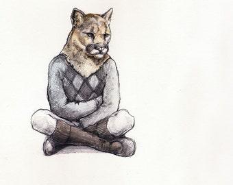 Little Mountain Lion (agile leader) - Mountain Lion Print