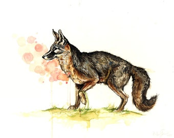 Departing (Grey Fox)- limited edition print