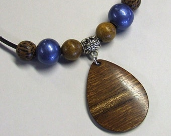 Wooden Pendant - Premium Quality - Handmade With Caribbean Rosewood - Artisan Wooden Jewelry - Comes with Leather Necklace
