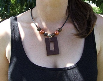 Wooden Pendant - Premium Quality - Handmade With African Sapele Wood - Artisan Wooden Jewelry - Comes with Leather Necklace