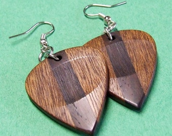 Wood Guitar Pick Earrings - Premium Quality - Handmade with Sapele and Desert Ironwood - Artisan Wooden Jewelry
