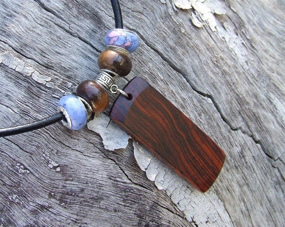 Wooden Pendant - Premium Quality - Handmade With Cocobolo Rosewood - Artisan Wooden Jewelry - Comes with Leather Necklace