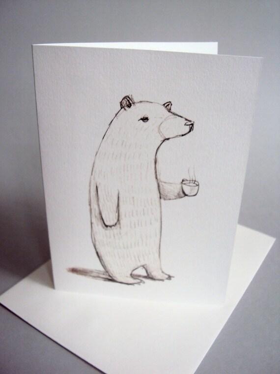 Bear with Coffee Blank Card