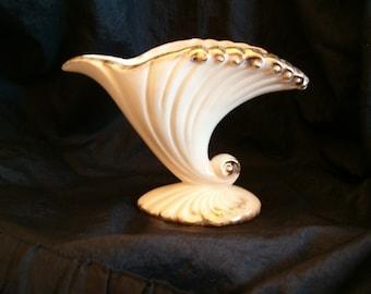 Vintage Ceramic Cream Colored Vase with Gold Highlight Trim