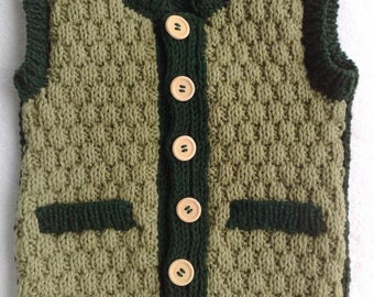Buttoned  boy vest ,  toddler size, avocado green .Hand knit.  Ready to ship