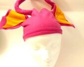 Bright Pink Monster ears & antenna- small, fleece - Halloween Costume - bitey hat