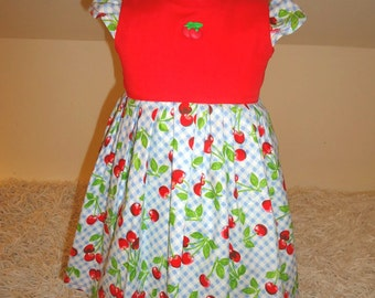 Cherry Gingham Rockabilly Dress - Size 1