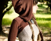 FINAL SALE- The Sweater Knit Hooded Shrug in Nutmeg Brown by Opal Moon Designs (size S or M)
