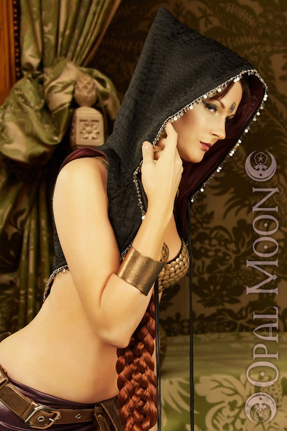 LAST ONE-The Morrigan Moonshine Silver Coin Vest with Hood by Opal Moon Designs (Size M)