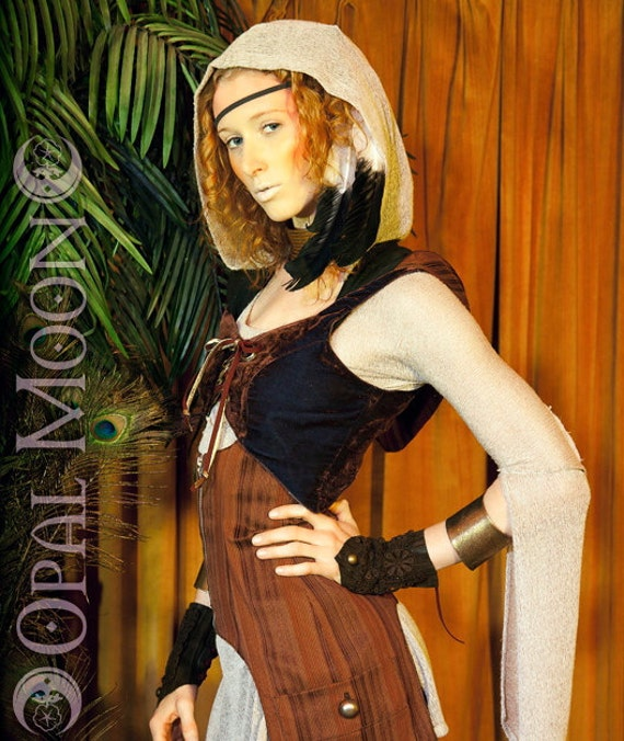 Last One Sale: The Reversible Brown Velvet & Stripes Vest with Grommets by Opal Moon Designs (Size M)
