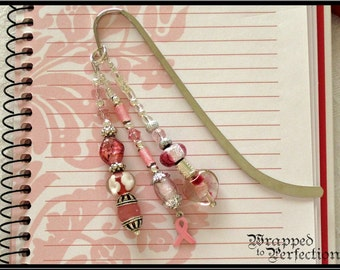 Breast Cancer Awareness Beaded Bookmark / STERLING SILVER Pink Ribbon Charm / Handmade Presentation Card / Pink & White / On Sale!