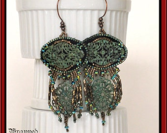 Gypsy Bead Embroidered Earrings /Swarovski Crystal / Antique Brass / Hippie Bohemian BOHO Verdigris Gypsy Fringe Ethnic Dangle OOAK