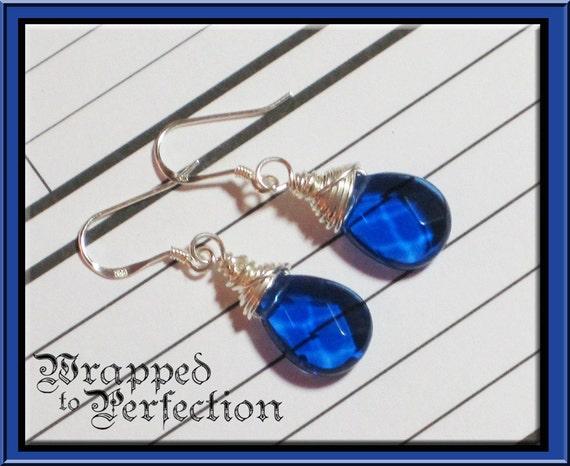 Royal Blue Quartz Sterling Silver Wire Wrapped Earrings / Navy Indigo Cobalt Sapphire Lapis