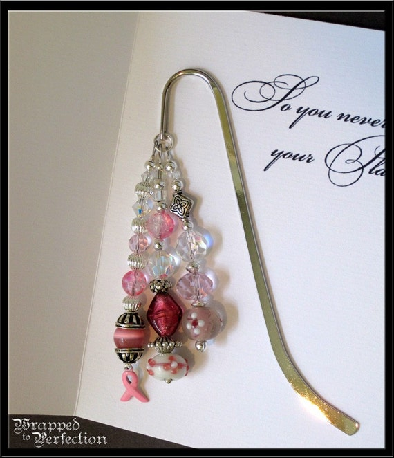 Breast Cancer Awareness Beaded Bookmark / Sterling Silver Pink Ribbon Charm / Pink & White / Handmade Card / SRAJD / ON SALE!