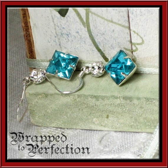 Square Aquamarine Glass and Crystal EARRINGS / Summer / Prom Party Formal Beach Wedding
