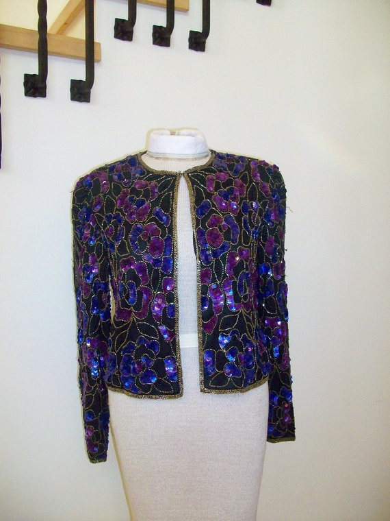 Vintage  1980's Sequin and Beaded Jacket Trophy Sequin Coat
