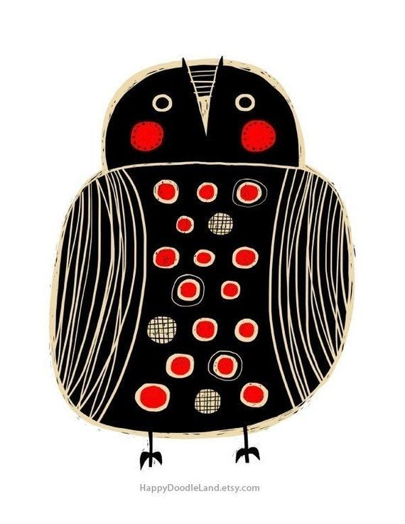 Black Owl - 8.5 x 11 Print