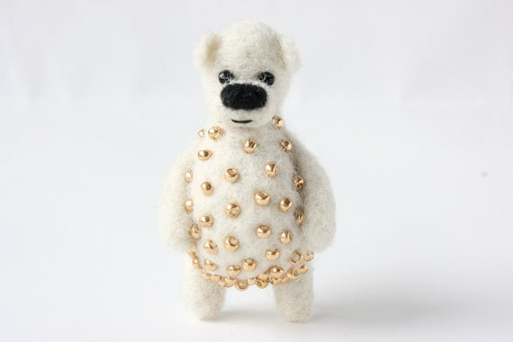 SUMMER SALE! -40% !!  White bear with golden beads, brooch