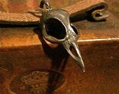 Bellatrix  Black Bird Skull Jewelry made in NYC on matching gun metal black 18 inch chain