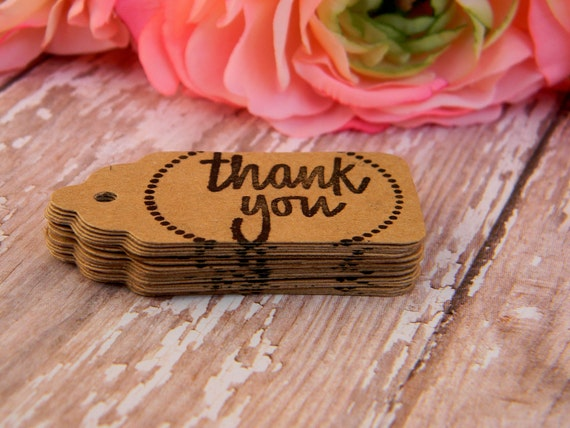 Thank You Tags Brown Cardstock Paper-Set of 50 Tags
