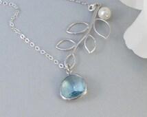 Clearwater,Necklace,Sterling Silver,Aquamarine,Aqua,Silver Necklace,Branch,Bride,Wedding,Birthstone. Handmade jewelry by valleygirldesigns