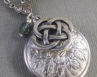 Celtic Knot,Claddagh, Antique Locket,Silver Locket,Celtic,Crown, Irish,Lucky, Shamrock,Tradition,Love. Handmade jewelry by valleygirldesigns