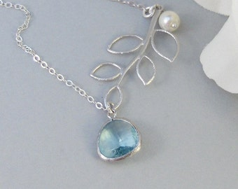 Clearwater,Necklace,Sterling Silver,Aquamarine,Aqua,Silver Necklace,Branch,Bride,Wedding,Birthstone. Handmade jewelry by valleygirldesigns