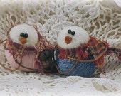 Primitive Mini Blue Jean Snowbaby Couple  ~~ Primitive Christmas ~~Primitive Home Decor ~~ DTHFAAP ~~OFG Team ~~ Yule ~~ Winter