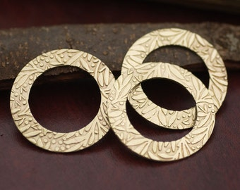 38mm Brass Donut Washer Blank 20G Fall Leaves Pattern, Jewelry Supplies, Enameling Blank - 2 Pieces
