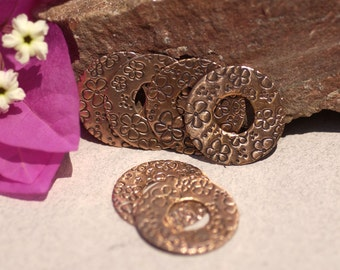 Patterned Copper Donut 20mm 24G Washer Field of Daisys, Metal Charms - Lampwork Beadcaps Possibly