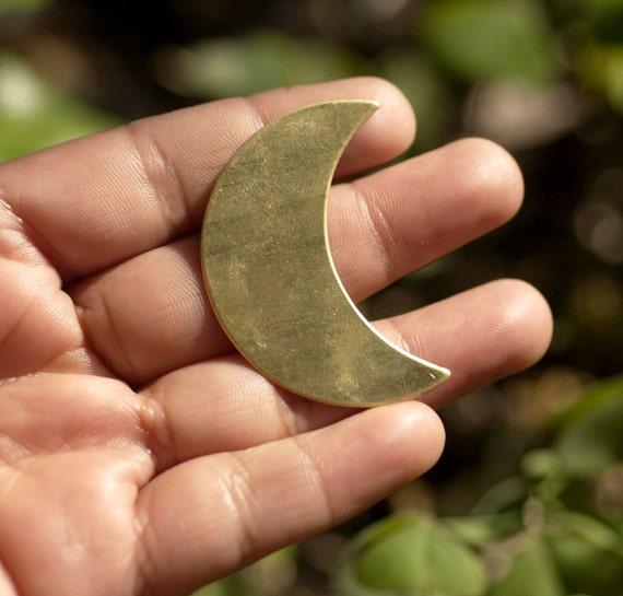 Brass Blank Moon Fantastica Luna 45mm x 30mm Metal Blanks Shape Form, Metalworking Supplies, Enameling Blank - 2 Pieces