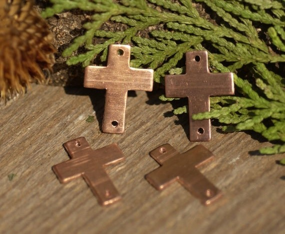 Copper 18mm x 14mm Classic Religous Cross with Holes Cutout for Enameling Stamping Texturing