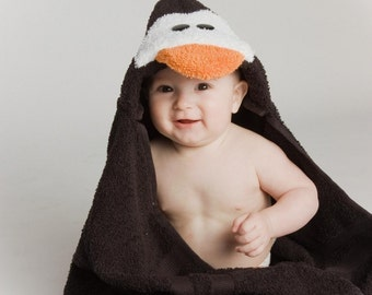 PERSONALIZED Penguin Hooded Towel
