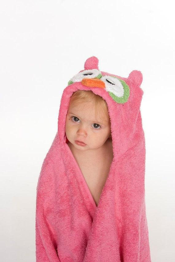 Pink Owl Hooded Towel