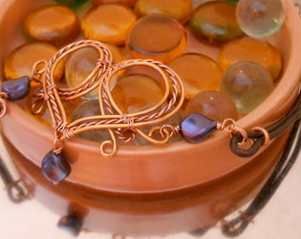 Rustic Copper Heart and Leather Choker