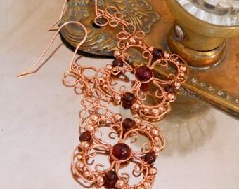 Copper Filigree Shoulder Dusters