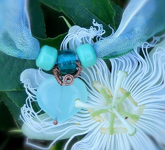 Sea Green Heart and Ribbon Choker or Boho Wrap Bracelet